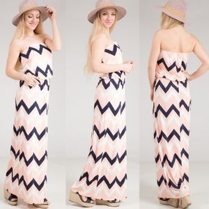 Dresses & Skirts - Beach Cruise Chevron Print Jersey Maxi Dress